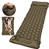 Camping Sleeping Pad, 2020 Newest Ultralight Inflatable Sleeping Mat With Build-in Pump, Buttons To Make Double Air Mattress for Backpacking, Hiking, Traveling - Lightweight, Inflatable & Compact