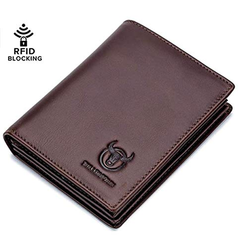 Bullcaptain RFID Blocking Bi-Fold Premium Genuine Leather Wallet with 15 Card Slots + 2 Cash Compartments + 1 ID Window For Men 2