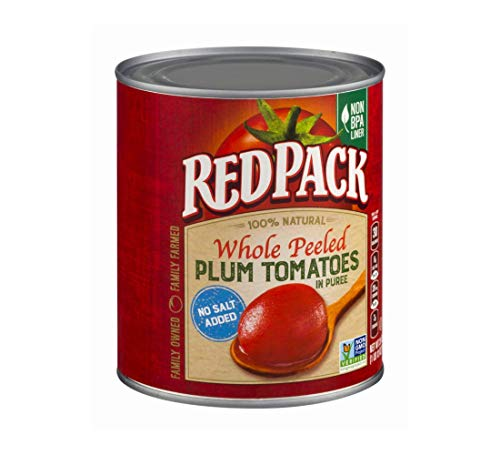 Redpack No Salt Added Whole Peeled Plum Tomatoes in Puree, 28 oz Can (Pack of 6)
