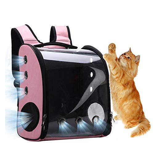 YUMEIGE Hond Carrier Rugzakken Reiziger Bubble Rugzak ABS Hars+Acryl+Canvas Stof,Pet Carriers voor Katten en Honden 1,7 KG, Pet Reizen Rugzak Lading Cat ≤ 9 Kg, Hond ≤ 6,5 Kg roze