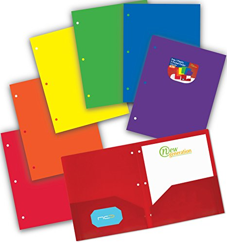 NEW GENERATION - Heavy Duty Plastic 2 Pocket Folder,3 Hole Punched 6 Pack Assorted Primary Colors Poly Folders for Letter Size Papers, Includes Business Card Slot for School, Home, Work and Storage