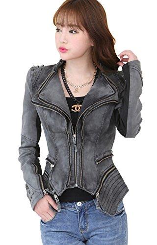 chouyatou Women's Retro Studded Punk Double-Layer Lapel Zipper Denim Jacket (Large, Gray)