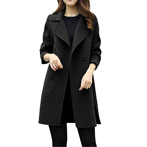 Womens Autumn Winter Jacket Casual Outwear Parka Cardigan Slim Coat Overcoat Black