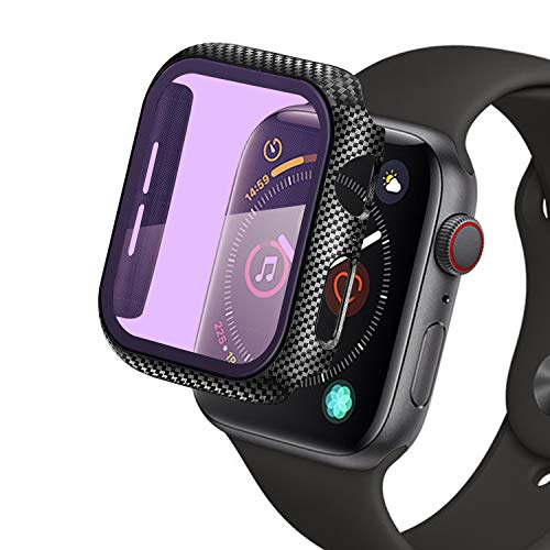 Kompatibel mit Apple Watch 44mm Series 4/5 Hülle mit Displayschutz, Qianyou Anti UV Kohlefaser Schutzhülle PC+Panzerglasfolie Vollschutz Hardcase HD Folie Bumper Tempered Glass Screen Protector(Lila)