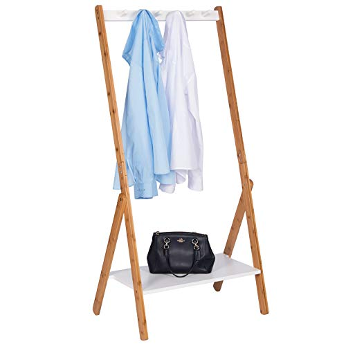 WOLTU SR0105 Kleiderständer Garderobenständer mit dem Ablage, 67,2x46x141cm, mit Schuhregal, Weiss+Natur Baumbus
