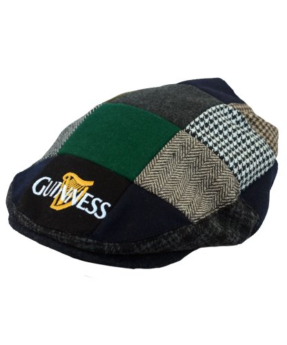 Guinness Official Merchandise Harp Embroidered Flat Cap Sombrero para hombre, color multicolored blackgreycream, talla L