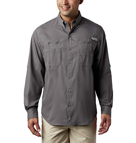 Columbia Men's PFG Tamiami Ii Long Sleeve UPF 40 Wicking Fishing Shirt, City Grey, 2XT