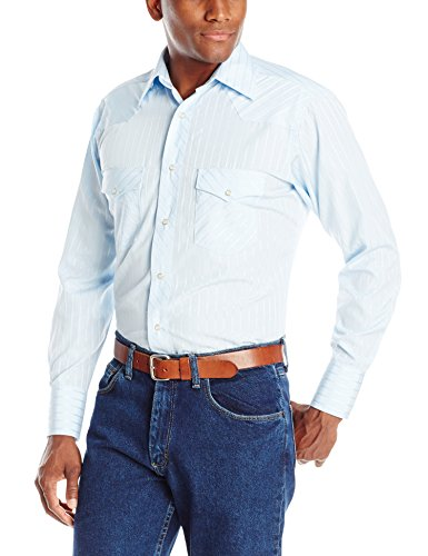 Wrangler Men's Sport Western Two Pocket Long Sleeve Snap Shirt, Light Blue, XL