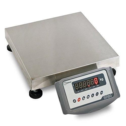 Bascula industrial resistente y de fácil movilidad con capacidad de 30 a 600Kg y tamaño de plato desde 40x40 hasta 80x80cm ((150Kg x 20g) (40x40cm))