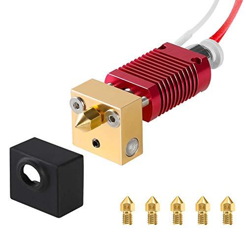 Creality Ender 3 Hotend, Extrusor de 1,75 mm montado, boquilla de 0,4 mm, juego de bloque de calor de aluminio con 5 boquillas extra de 0,4 mm para impresora 3D Ender-3, Ender-3s, Ender-3 pro
