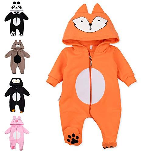 Baby Sweets Baby Tier Strampler Unisex orange im Motiv: Fuchs/Baby-Overall als Tierstrampler mit Kapuze für Neugeborene & Kleinkinder in der Größe 0-3 Monate (62)
