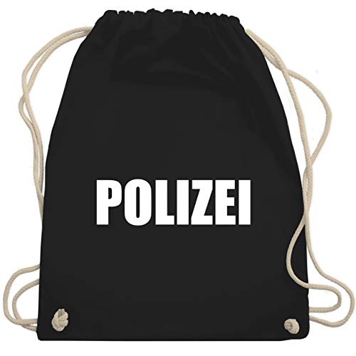 Shirtracer Karneval & Fasching - Polizei Karneval Kostüm - Unisize - Schwarz - turnbeutel polizei - WM110 - Turnbeutel und Stoffbeutel aus Baumwolle