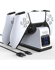 HEYSTOP Cargador Mando PS5, Soporte Mando PS5 Estación de Carga Rápida Double USB con LED Indicador, Estación de Carga para Sony Playstation 5 Compatible con Mandos Playstation 5 DualSense