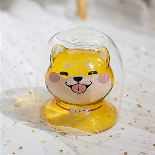 Weihnachtstasse Shiba Inu Tasse Hitzebeständiges Glas Doppeltasse Milchbecher Niedlich Wassertasse Kreative Weihnachtstasse (Shiba Inu Cup)
