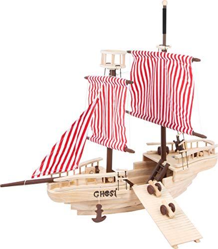 Small Foot 1920 Piratenschiff aus Massivholz, aufwendig gearbeitetes Holzschiff mit vielfältigem Zubehör, bietet enorm viel Platz zum Spielen