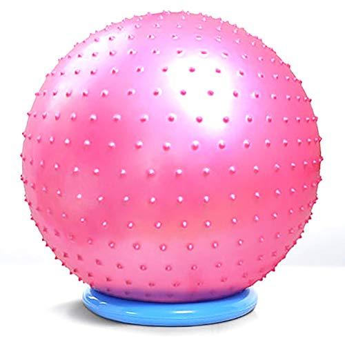 Pelota de gimnasia para ejercicios de yoga, balón de entrenamiento con base, equilibrio de natación, 55 cm, rosa, lila, azul, color rosa, tamaño 55cm/27.1in
