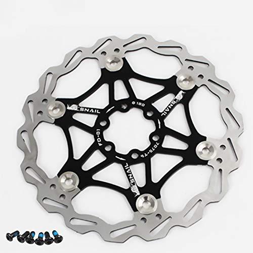 Newgoal Disco de Freno de Disco de Bicicleta, 180mm Bicicleta de montaña Flotante Disco de Freno Centro de Bloqueo Accesorios de Bicicleta(Negro)