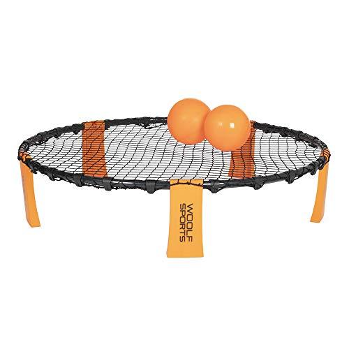 WOOLF SPORTS Smackball-Set | Lustiges Ball-Spiel | tragbares und faltbares Netz | mit Tragetasche | inkl. 2 Bälle und Handpumpe | für das Spielen im freien und Zuhause geeignet | Orange