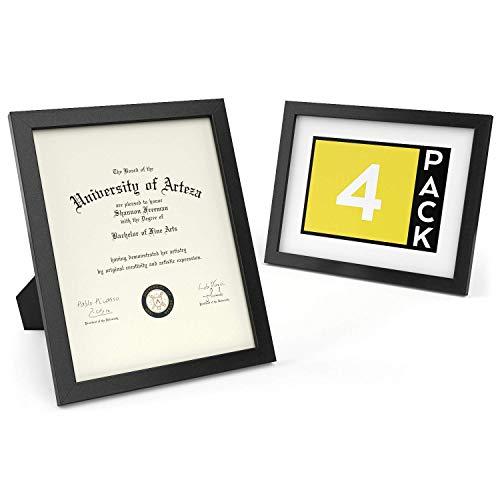 ARTEZA Marco para Diplomas | 21,6 x 27,9 cm | Pack de 4 | Portafotos con Acabado en Madera Maciza | Frontal de Cristal | Marcos de Foto para enmarcar Diplomas, certificados y Otros Documentos