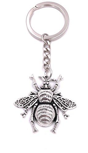H-Customs Biene Fliege Hummel Schlüsselanhänger Anhänger Silber aus Metall