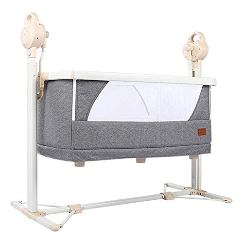 Lowest Prices! Balance Bouncer Cradle Baby Splicing Bed Infant Electric Cradle Swing Sleeping Rocking Basket Bassinet Portable Crib Easy Folding Newborn Comfort Recliner (Color : Gray)