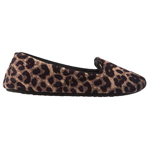 isotoner Women's Stretch Velour Smoking Slipper with All Around Memory Foam, Cheetah (Velour), X-Large / 9.5-10.5