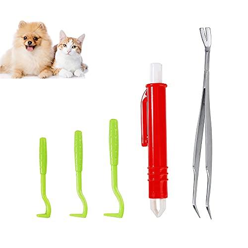 TOCYORIC 5 Stück Zeckenentferner Set für alle Zecken-Größen, Edelstahl Kunststoff Zeckenentferner Set, Tick Remover Kit Zeckenentfernung Zeckenhebel für Menschen Hunde und Katzen