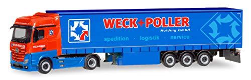 herpa 310314 Mercedes-Benz Actros Bigspace Gardinenplanen-Sattelzug Weck + Poller (Sachsen/Zwickau), Mehrfarbig