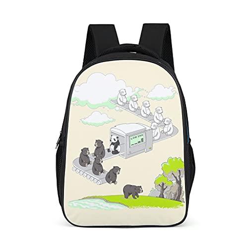 Mochila japonesa linda osos panda ilustraciones patrón Bookbag impermeable Daypack portátil bolsa para preescolar primaria, color, talla Talla única