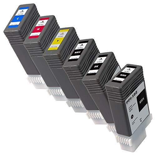 PFI-102(MBK*2/BK/C/M/Y)【5色+顔料マットブラックセット/計6本】 CANON互換インク 残量表示あり 最新ICチップ搭載 国内梱包検品済み 【Enk】製 対応機種: iPF700 iPF720 iPF750 iPF605 iPF610 iPF650など
