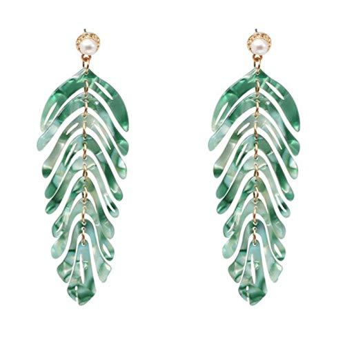Largo Dangle resina verde hojas pendientes fiesta joyería accesorios hechos a mano moda acrílico pendientes para las mujeres