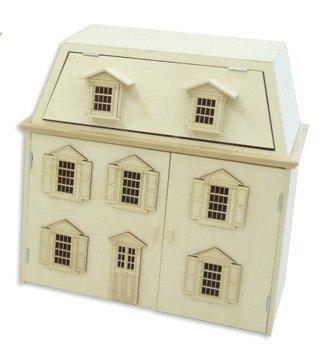 Poppenhuis model Dublin van populierenhout in ecru. Voor het beschilderen met opklapbare deuren en dak. Afmetingen (b x d x h): 52,5 x 26 x 51 cm.