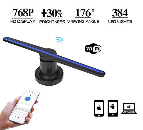 3D hologram projector reclame display ventilator met 384 st. LED, holografische beamer 1800 lumen, 768P resolutie, WiFi Added video foto projector voor iOS Android en Windows, 16,9 inch.