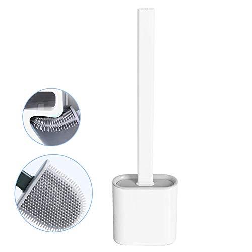 Nutteri Revolutionary Silicone Flex Toilet Brush with Holder,No-Slip Long Handle Toilet Brush with Holder, Standing Holder & Wall Mounting Cleaning Brush Set (White)