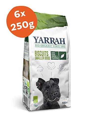 Yarrah Biscotti Vega Bio per Cani - 6 x 250 gr - per Cani più Piccoli - Adatto ai Cani Che Hanno Difficoltà a Digerire Le Proteine Animali - con Bio Spinaci, Alghe e Spirulina