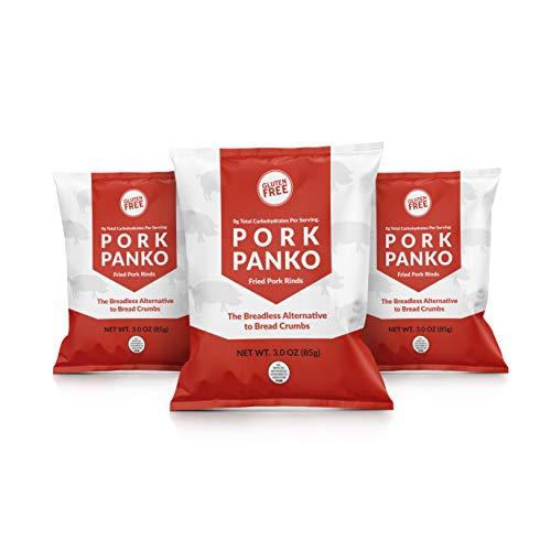 Pork Panko - 0 Carb Pork Rind Breadcrumbs - Keto and Paleo Friendly, Naturally Gluten-Free and Carb-Free (3 x 3oz Packs)