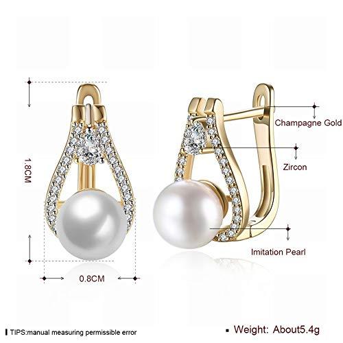 DLL Kleine und exquisite K-Gold-Zirkon-Ohrringe Tropfenförmige, von Perlen inspirierte, romantische Ohrringe Damen Weißgold/Edelstahl/hypoallergen/Silber Sekt Mode wild