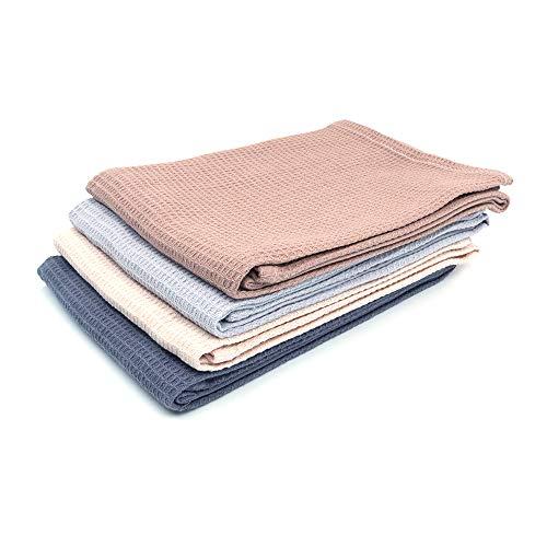 Shiwaki Juego de 4 Toallas de Mano,algodón Natural,Toallas Suaves absorbentes de 18 x 25,5 Pulgadas para Manos, Cara,Cabello, Gimnasio, Yoga,té, Trapo de Cocina,Mesa de Comedor - Coler Mixto