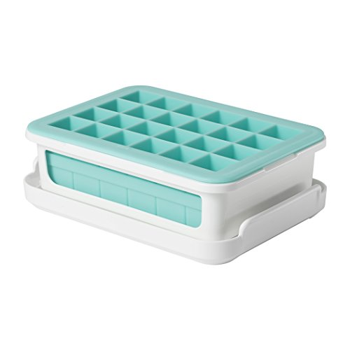 OXO Good Grips Silicone Small Ice Cube Tray for Cocktails with Lid, Light Blue
