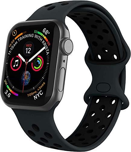 VIKATech Compatible Cinturino per Apple Watch Cinturino 44mm 42mm, Due Colori Morbido Silicone Traspirante Cinturini Sportiva di Ricambio per iWatch Series 6/5/4/3/2/1 SE, S/M, Obsidian/Nero