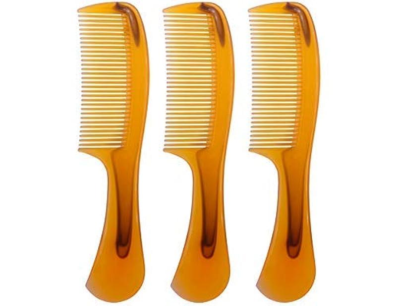 受益者前書きしがみつくLBY 3pcs 16 cm Hair Comb Round Handle Comb Hair Care Comb Plastic Yellow [並行輸入品]
