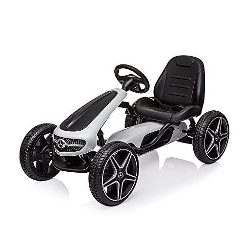 COLOR TREE Kids Pedal Go Kart w/Benz Logo, Horn, Music, Adjustable Seat, Brake Lever, EVA Tires - 4 Wheel Quad Ride On Toys Outdoor Racer Pedal Powered Cars, White