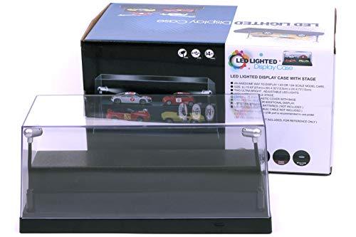 Vitrina de Coche Modelo Fundido a Presión con iluminación LED para Autos Modelo Diecast, Incluido Cable de atenuación USB: Negro, Escala 1:24