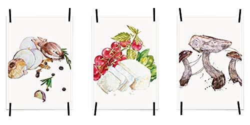 myprinti® Küchenbilder Poster Bilder für die Küche Küchenposter Kunstdrucke | Moderne Wanddeko Küche Deko | 3er Set Größe DIN A4 | Zwiebel, Tomate, Käse, Pilze, Gemüse