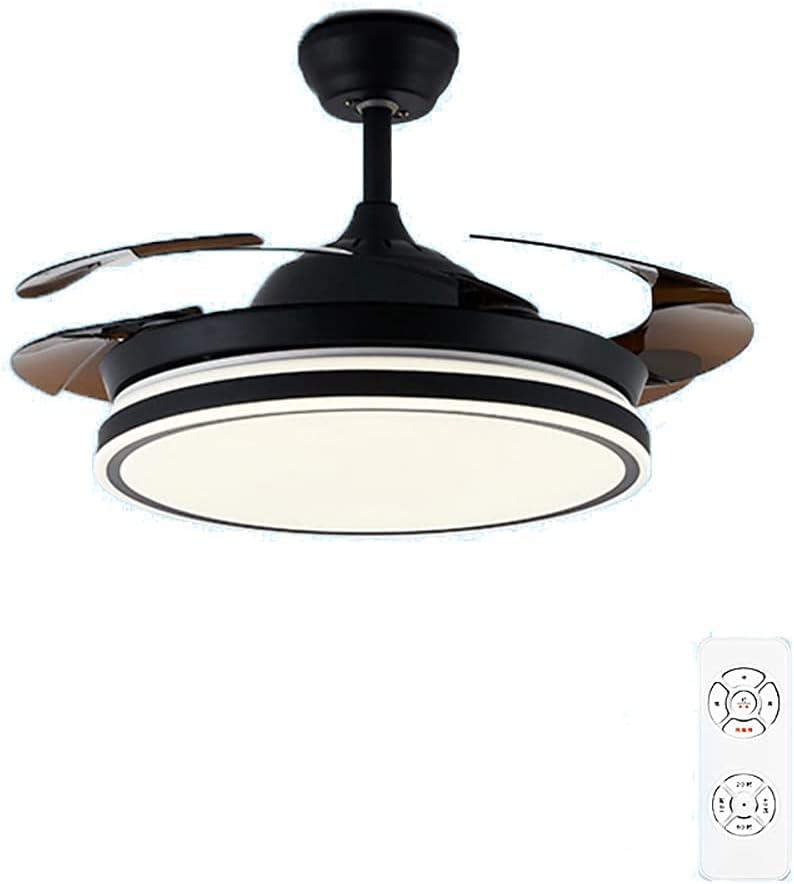 Ventilador De Techo De 72W, Luz LED Con Control Remoto, 55/62 Pulgadas, Bluetooth Con Candelabro, Cuchillas Retráctiles, Dormitorio, Sala De Estar, Comedor, Negro,Dimming,5.2ft