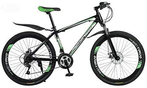 HCMNME Bicicleta Duradera 26 Pulgadas de Bicicletas de montaña, el PVC y el Agarre Todos los Pedales de Aluminio y Caucho, Marco de Acero de Alto Carbono y aleación de Aluminio, Doble Freno d