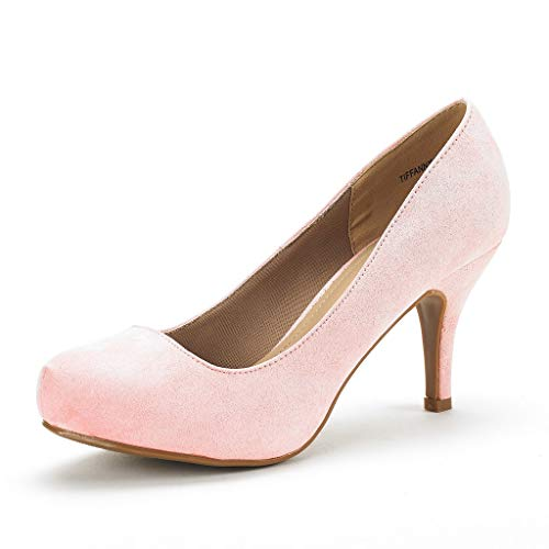 DREAM PAIRS Tiffany Women's New Classic Elegant Versatile Low Stiletto Heel Dress Platform Pumps Shoes Pink Suede Size 8.5