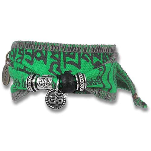 Anisch de la Cara Hombre Pulsera Mantra de Agua - Pulsera tibetana Wish Wish Hecha de Banderas de oración tibetanas Mantra Wish - Arte no 93310-g