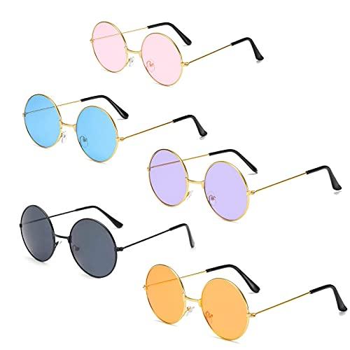 5pcs Gafas de Sol Hombre y Mujer Redondas Polarizadas,Gafas de Sol Redondas Marco MetáLico Estrecho,Polarizadas Clip en Gafas de Sol Marco PláStico(Black Purple Blue Gold Powder)