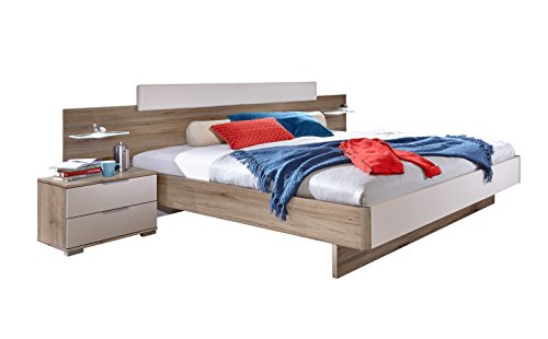 Wimex Bett/ Doppelbett Oslo, (B/H/T) 282 x 210 x 81 cm, columbia nussbaum        / Absetzung        bettpolster        / Absetzung         prosecco farbig